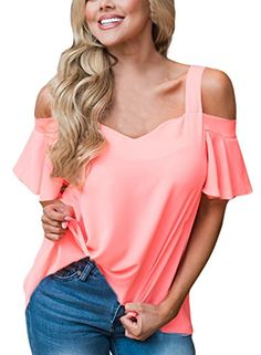 Special Offer: $12.99 amazon.com This charming women's open cutout,split shoulder top is the latest fashion trend that you don't want to miss!This lightweight,Cut out cold shoulder top is perfect for those carefree summer days!Feature:Cut Out Shoulder,Off Shoulder,V Neck,ruffle...