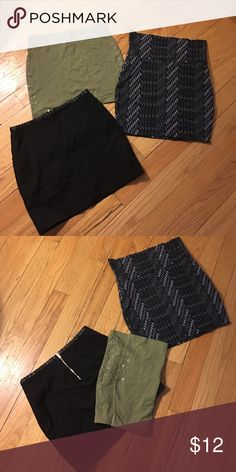 Three Mini Skirts - New Without Tags Three Mini Skirts - New Without Tags. Never worn because gained weight. Pulled off tags hoping to loose weight and wear them. Gray graphic design skirt - XXi (Forever 21), size M (originally price: $16). Black skirt with faux leather detail around waist, with silver back zipper - H&M, size 6 (original price: $20). Olive green skirt with open stud detail on both sides of hip/thigh area - H&M, size 6 (original price: $17). Forever 21 and H&M Skirts Mini