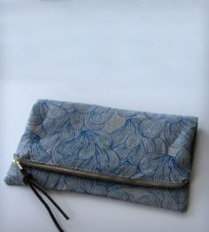 Palmiers Printed Foldover Clutch - Blue | Women's BAGS & ACCESSORIES | Jen Hewett Studio | Scoutmob Shoppe | Product Detail