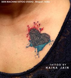 Thumbprints tattoo of her Parents with watercolor effect. Tattoo by Naina Jain at Skin Machine Tattoo Studio  Hope you guys like this too