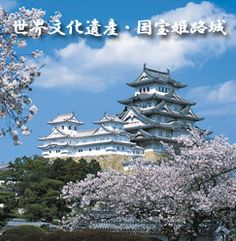 Himeji 桜満開の姫路城天守(写真)