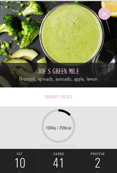 Joe Green Jucie - green Mile - broccoli, spinach, apple, avocado, lemon Juice Smoothie, Smoothies, Broccoli, Spinach, Joe And The Juice, Carbs Protein, Vegan Foods, Juicing, Meal Prep