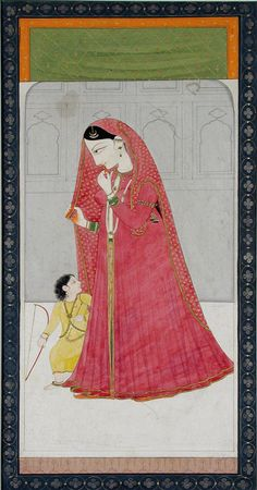 A woman in red with a child who holds a bow. Creator/Artist: Chajju, Indian, (active India, 19th century) Creation Date: ca. 1820. Binney Collection,San Diego Museum of Art,