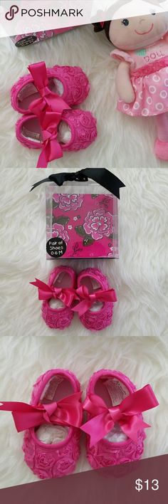 💕Pink Baby Ribbon Shoes💕 NWOB This gorgeous pink shoes is man made material.  Base-hearted. Comfortable and soft.  Excellent Condition.💗  💌Open boxed only for show. Never used.💌 Baby Essentials Shoes Dress Shoes