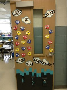 Superhero Classroom Door Change graders to kindergarten Superhero Classroom Door, Superhero School Theme, School Themes, Superhero Door Decorations Teachers, Superhero Bulletin Boards, First Grade Classroom, New Classroom, Kindergarten Classroom, Classroom Themes