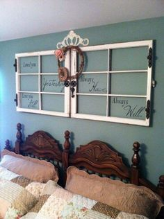 Love this idea above the bed!