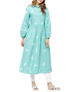 Pale Blue Fully Embroidered Kurta in Cotton Silk with Silk Matka Pants - Atelier Pop Salwar Designs, Kurti Designs Party Wear, Blouse Designs, Pakistani Outfits, Indian Outfits, Biba Fashion, Western Dresses For Women, Sleeves Designs For Dresses, Kurta Neck Design