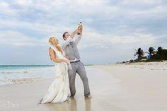 Riviera Maya photography, beach trash the dress celebration!  Mexico wedding photographers Del Sol Photography