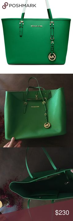 Green Large Micheal Kors Tote Bag It is a large bright green Michael Kors Bag, it has gold detailing. Michael Kors Bags Totes