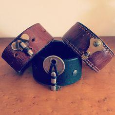 Women's leather cuff, leather bracelets with vintage key www.reddaisyartdesigns.com