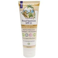 Badger Sunscreen Lotion, SPF 25 Unscented - 4 oz.