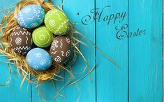 Download wallpapers Happy Easter, congratulation, spring, easter colored eggs, 2018, decoration, blue wooden background