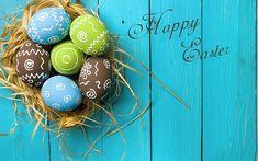 Scarica sfondi Buona Pasqua, auguri, primavera, pasqua, uova colorate, 2018, decorazione, blu sfondo di legno