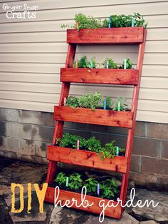 Constructed cedar troughs are mounted to wooden sides and then stained in this crafty vertical garden project.
