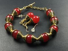 For Fall  Red Jade Rubies and Tibetan Gold Spiral Accents Bracelet and Earring Set by CatchyTreasures on Etsy