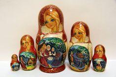 Russian Matryoshka 5p fairy tale Masha and the Bear by EtsyGrail