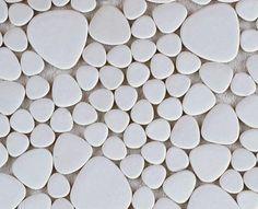 GAMME MATS : Galets Japonais de coloris Blanc en plaque de 26 x 26 Cm à poser au mur et au sol, ou pour une douche à l'italienne...