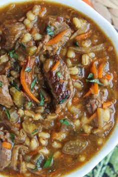 Beef Barley Soup (Slow Cooker) from TheFoodCharlatan.com This hearty soup is full of flavor. The ultimate comfort food!