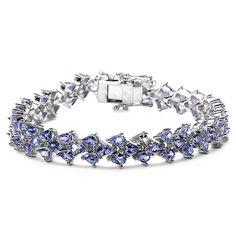 Malaika Sterling Silver Pear-cut Tanzanite Tennis Bracelet