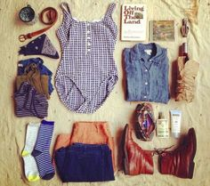 Summer camp style. I adore the vintage style one piece.