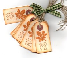 Autumn Gift Tags Favor Tags Hang Tags Labels Fall Vintage Maple Leaf