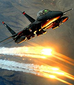 F-15 Eagle deploying flares