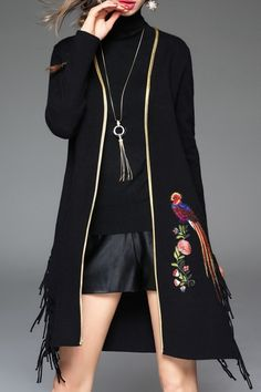 K.y Black Embroidered Fringed Overcoat | Coats at DEZZAL  Click on picture to purchase!