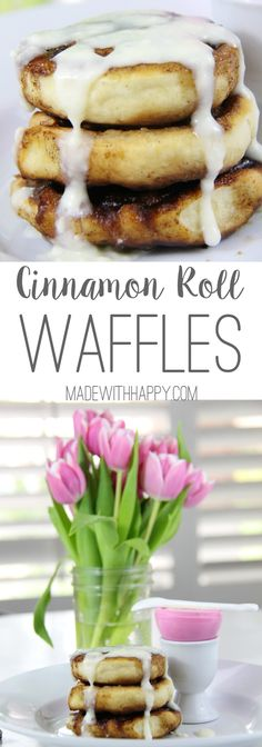 Cinnamon Roll Waffles with Cream Cheese Glaze | Homemade Cinnamon Roll Waffles in less than an hour | Cream Cheese Glaze | www.madewithHAPPY.com | #OnlyPhiladelphia #MyCreamCheese @LoveMyPhilly