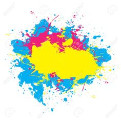 Abstract Paint Splatter Elements In A Cmyk Color Scheme. This.. Royalty Free Cliparts, Vectors, And Stock Illustration. Image 4728828.