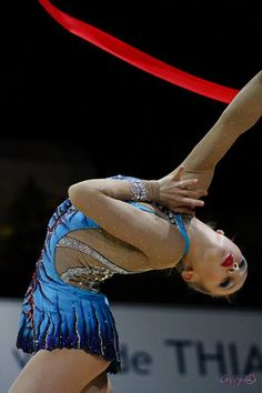 Canada's Patricia Bezzoubenko performs with the ribbon during women's rhythmic gymnastics  ...