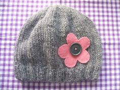 Simple Two-Needle Knitted Beanie Hat