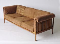 Danish. Johannes Andersen rosewood and suede leather sofa 1960s/70s. Status: Sold