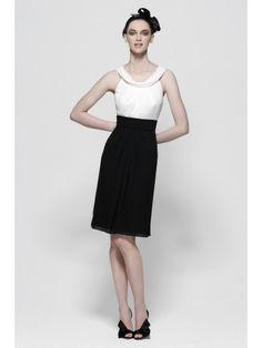 Chiffon Tucked Bodice Knee-Length Bridesmaid Dress
