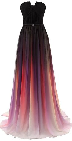 Gradient Prom Dress,Long Prom Dress,Strapless Prom Dress