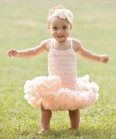 Loving this Peach Champagne Rosette Petti Dress - Infant, Toddler & Girls on #zulily! #zulilyfinds