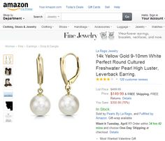 14k Yellow Gold 9-10mm White Perfect Round Cultured Freshwater Pearl High Luster, Leverback Earring