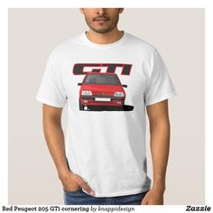 Red cornering Peugeot 205 GTi with a GTi badge. Peugeot 205 Gti, Trump Protest, Movie Quotes, Fitness Models, Mens Tops, T Shirt, How To Wear, Clothes, Snowflakes
