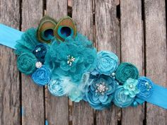 Hand-rolled Rosette Wedding or Maternity Sash Vintage-inspired, custom available