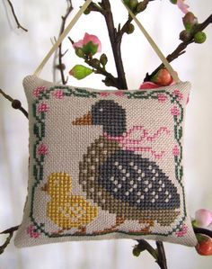 Completed/Finished Prairie Schooler Spring April Easter Duck Ducklings Cross Stitch Pillow Ornament. $14.50, via Etsy.