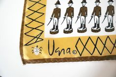 Vera Neumann Toy Soldiers Scarf - Brown, Gold and White - free shipping in USA by DianaDwainVintage on Etsy