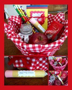 Teacher gift basket Teacher Gift Baskets, Teacher Gifts, Decorative Baskets, Basket Decoration, Cute Diys, Teacher Appreciation, Creative Gifts, Diy Gifts, Diy Ideas