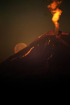 Popocatepetl: Volcanic Moonrise, Puebla, Mexico