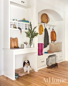 Enter with Ease - mud room style and design ideas Living Room Built Ins, My Living Room, Built In Dog Bed, Dog Nook, Puppy Room, Entry Way Design, Kitchen Units, Fashion Room, Dog Houses