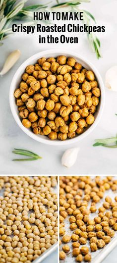 How To Make Crispy Roasted Chickpeas in the Oven - A simple guide for crunchy legumes that are the perfect healthy snack or addition on top of salads and soups. via (roast recipes chickpeas) Chickpea Recipes, Vegetarian Recipes, Healthy Recipes, Chickpea Salad, Healthy Snacks, Healthy Eating, Healthy Protein, Vegan Snacks, Vegan Meals