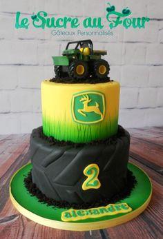 John Deere cake-Le sucre au four Tractor Birthday Cakes, Farm Birthday, Tractor Cakes, Birthday Ideas, John Deere Party, Deer Cakes, Cakes For Boys, Cute Cakes, Party Cakes