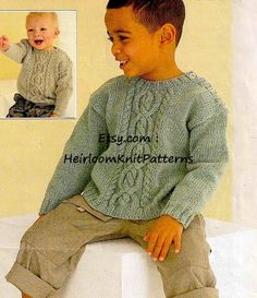 Knitting Patterns Boys, Knitting For Kids, Knitting Projects, Baby Knitting, Knitting Needles, Barbie Furniture, Cable Knit Jumper, Boys Sweaters, Plastic Canvas Patterns