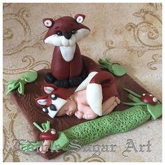 WOODLAND BABY SHOWER CAKE Topper FOX Fondant Baby Shower Decorations