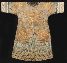 1418b3222 An embroidered silk Dragon robe, Qing Dynasty, late 18th- early 19th  century Oriental