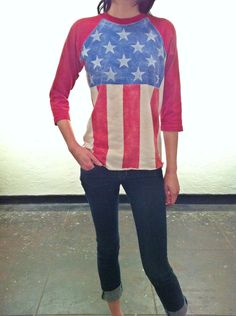 American Flag Baseball Shirt Red White and Blue Patriotic. Too much $$
