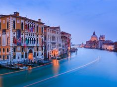Sunset in Venice from the Accademia Bridge, with the view on the Grand Canal. #Italy #travel